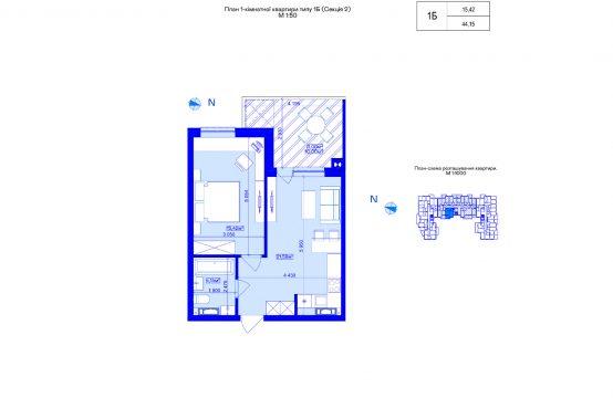 1-кімнатна 1Б-2