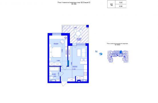 1-кімнатна 1Д-2