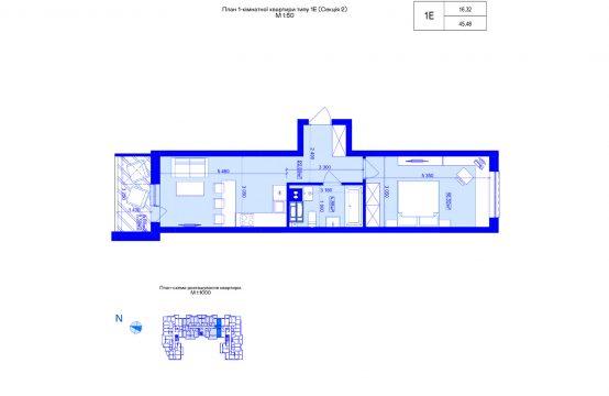 1-кімнатна 1Е-2