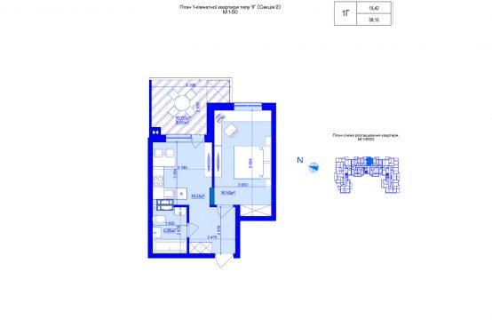 1-кімнатна 1Г-2